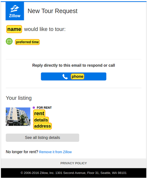 Zillow Tour Request Template created in Parseur