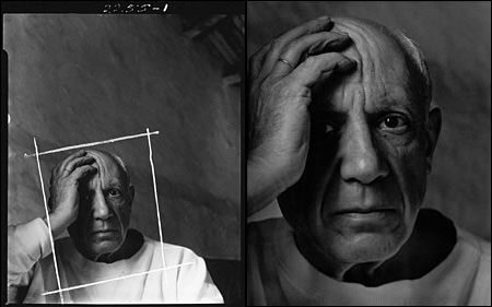 In this famous portrait of Pablo Picasso, only 35% of the original shot was used. Note how the the artist's mood and personality come through even more strongly with the closer crop.