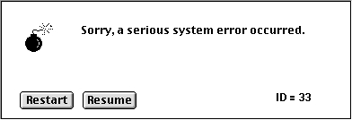 Classic MacOS error screen with just an error code (ID)