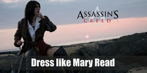 Mary Read regularly wears white blouse underneath a rustic green coat with a regular pair of tan pants and high boots