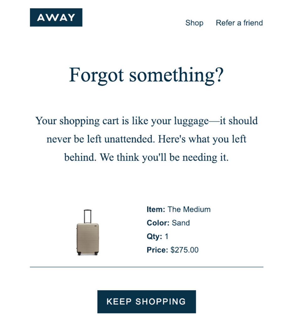 Away Abandoned cart email