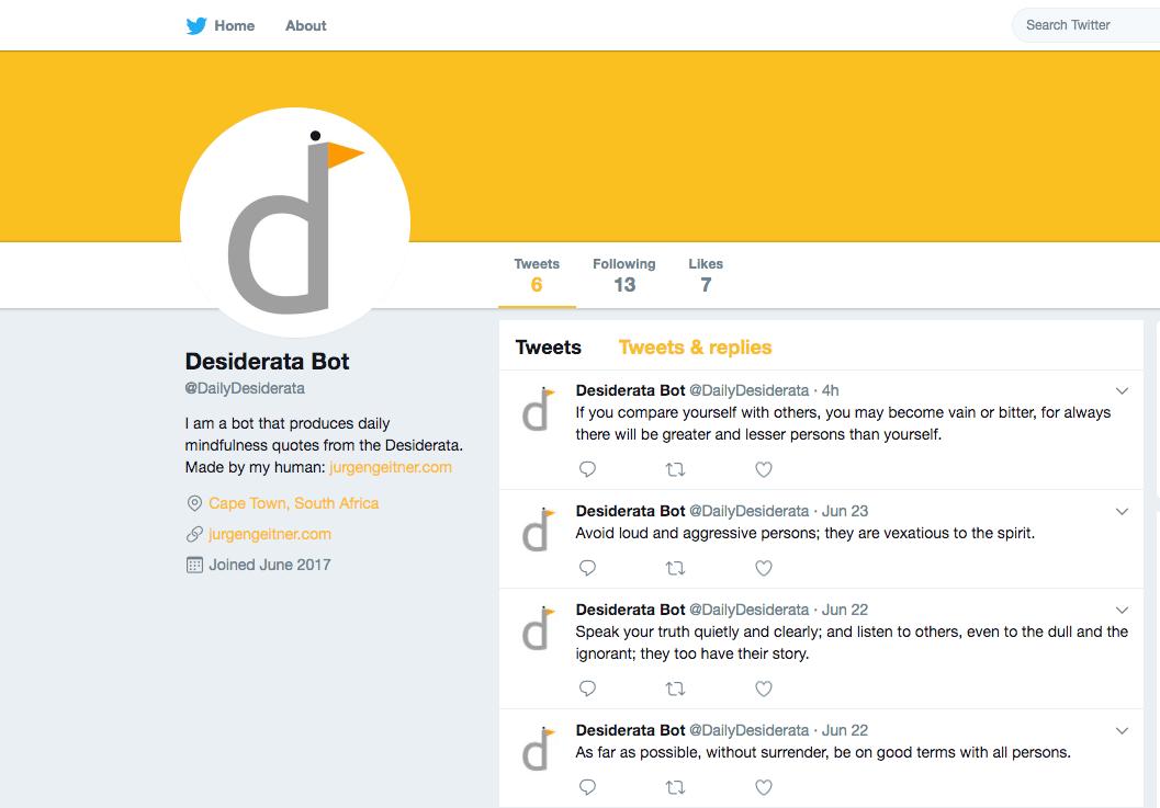 Image of Twitter bot.