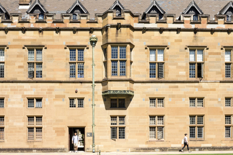 University of Sydney building with students walking
