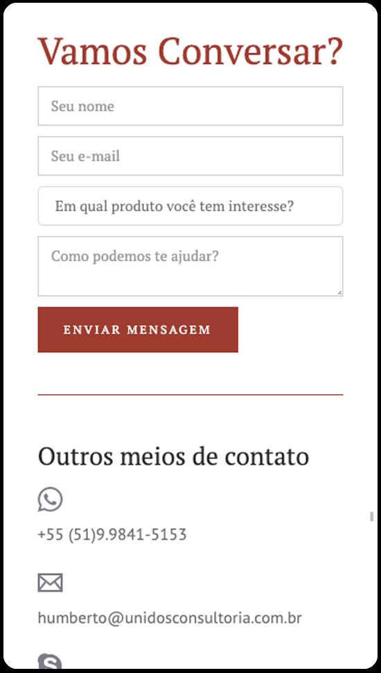 Página Contato Mobile