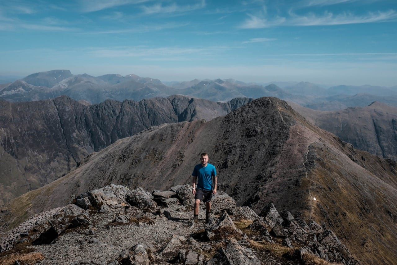 Chris walking near the summit of Bidean Nam Bian
