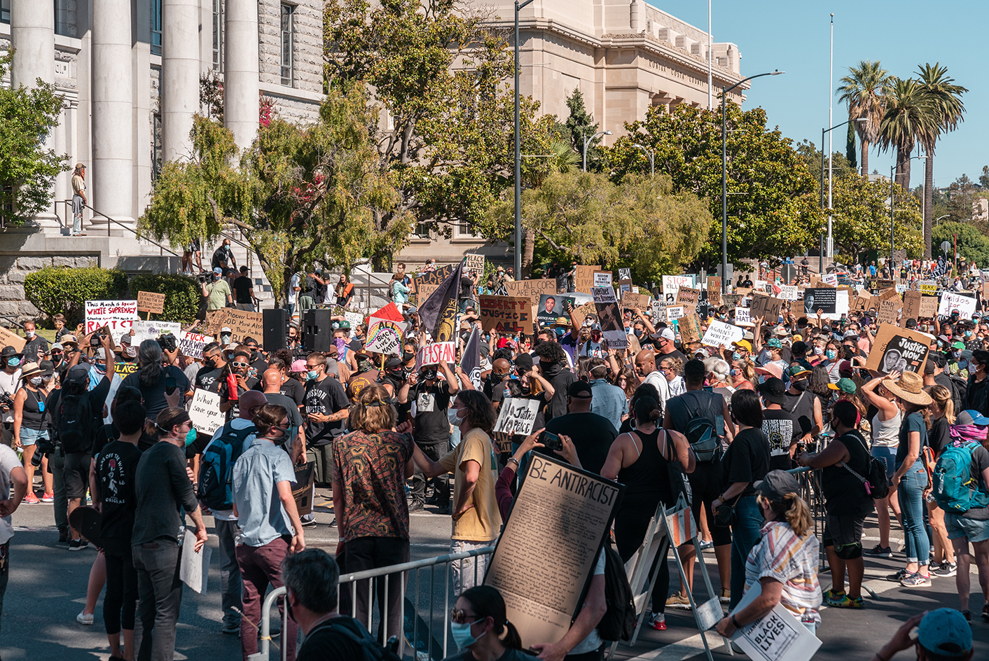 "Several hundred people gather in front of the Contra Costa County Courthouse at the ""Zero Tolerance for White Supremacy"" protest in Martinez, Calif., on Sunday, July 12, 2020."