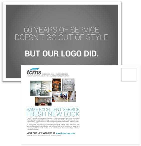 postcard rebrand announcement for TCMS