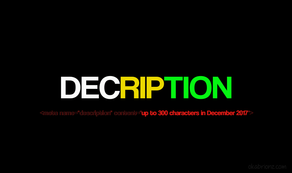 New Meta Description 2017 (DECription)