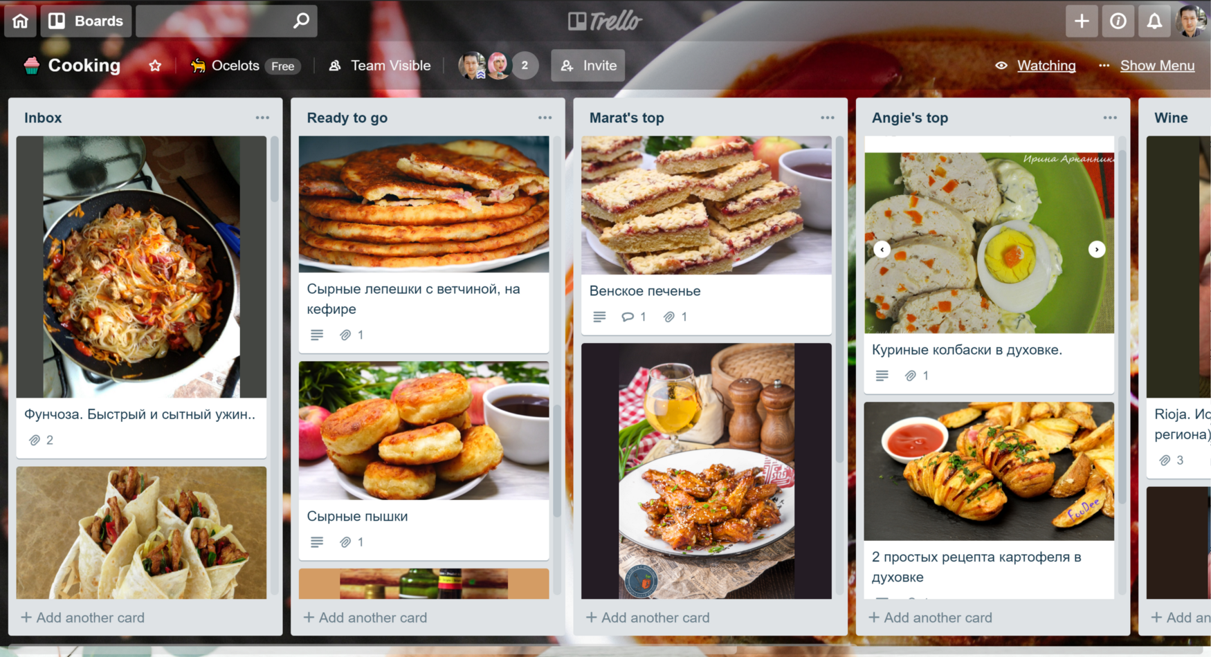 Trello cooking board