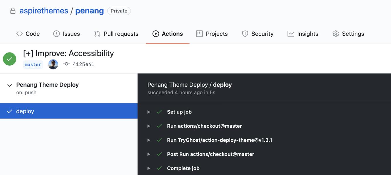 Penang Documentation GitHub Actions