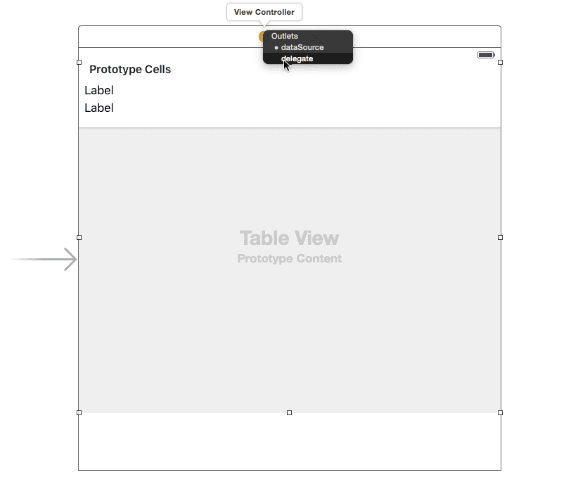 Table view setting View Controller as delegate and dataSource