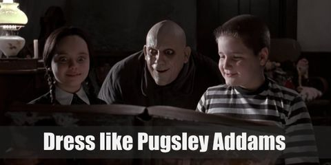 Pugsley Addam's style is very gothic like his peculiar family. He wears a black and white t shirt, black shorts, and black oxfords.