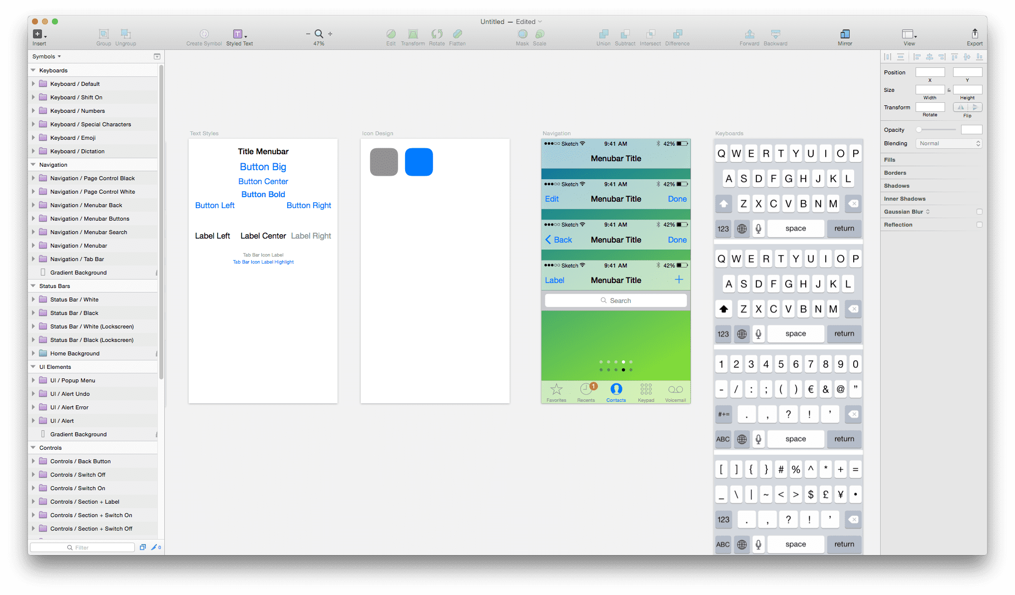 Sketch 3 - iOS UI Design - Symbols Page