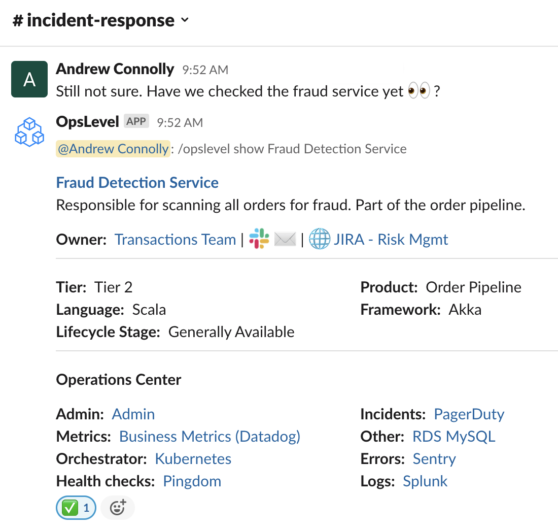 Pull service information directly into Slack