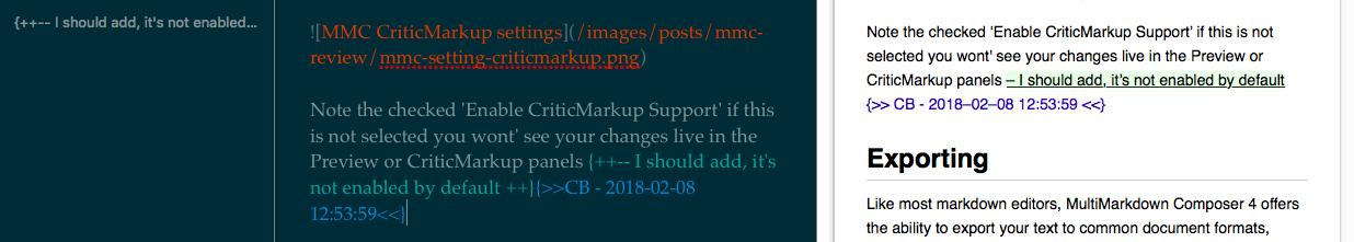 MMC CriticMarkup Live