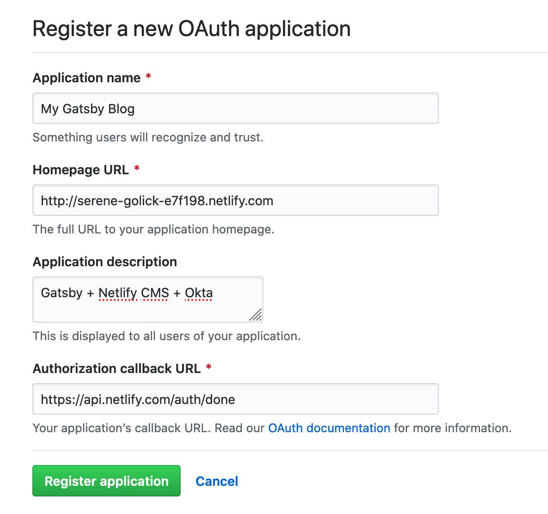 Register GitHub app