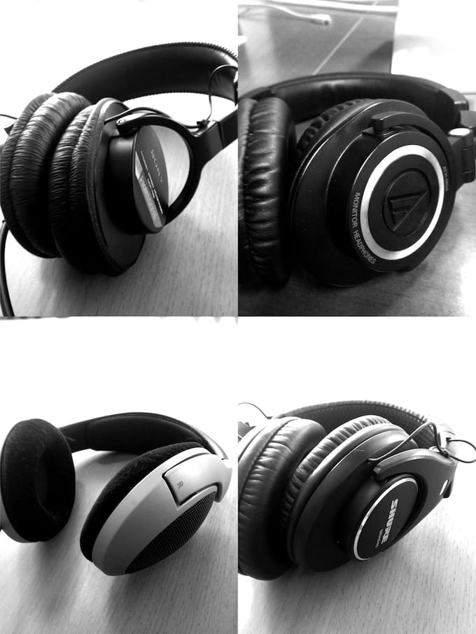Four sets of headphones