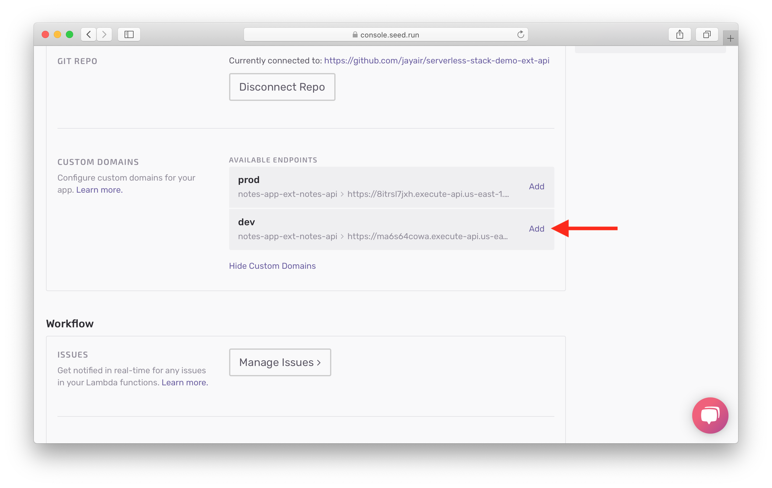 Select Add domain for dev stage