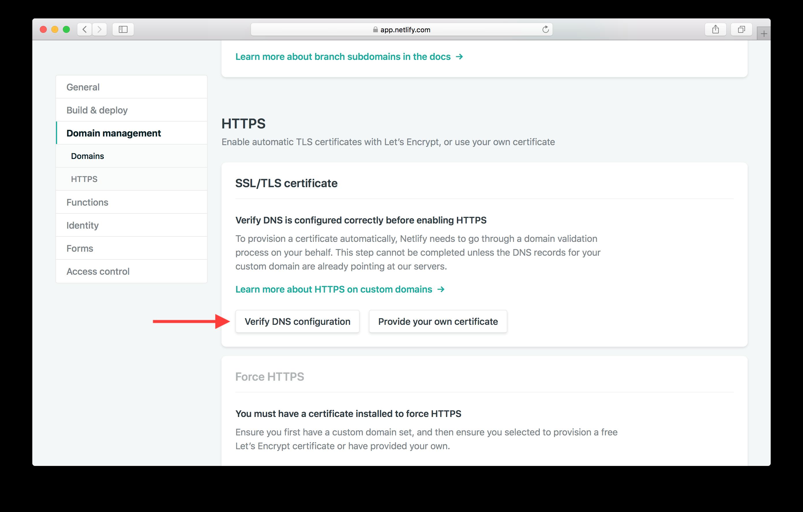 Verify DNS configuration screenshot