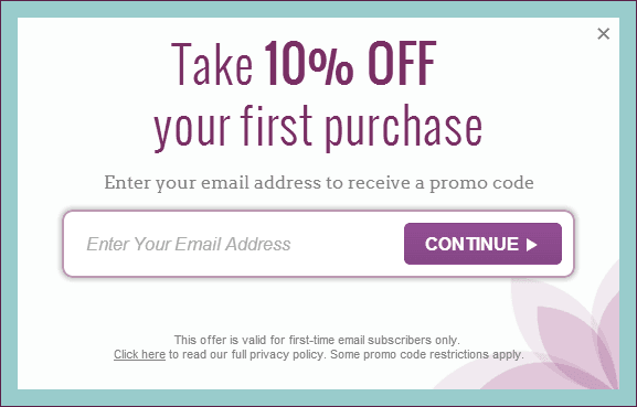 Take 10% off popup