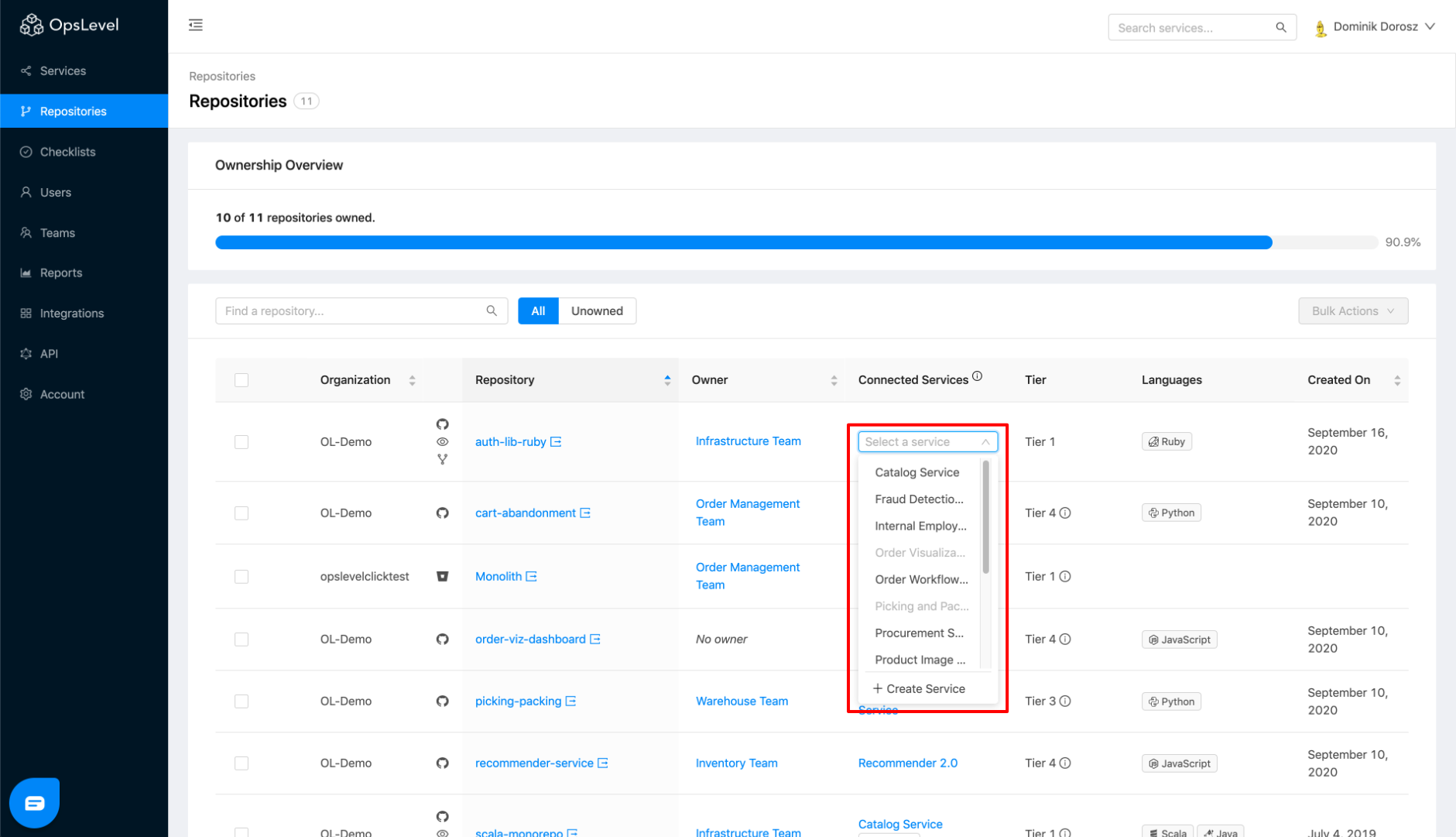 Repositories Connected Services Dropdown