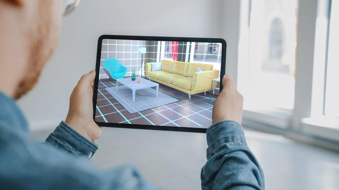AR furniture in living room