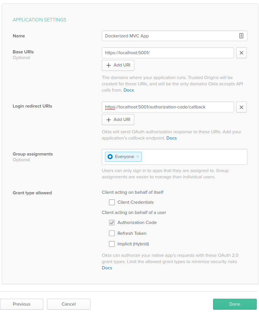 Okta Application Settingss