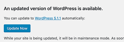 Wordpress admin panel, update section.
