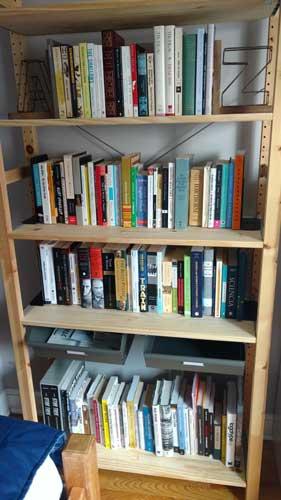 Those same books filling a stack of bookshelves