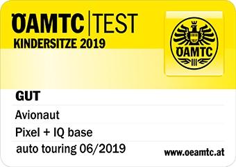 Logo testu ÖAMTC dla fotelika Pixel