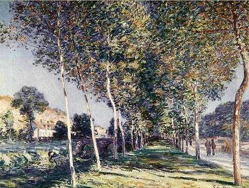 Avenue of Poplars near Moret-sur-Loing by Alfred Sisley, 1890, rediscovered and now at the Musée d'Orsay in Paris