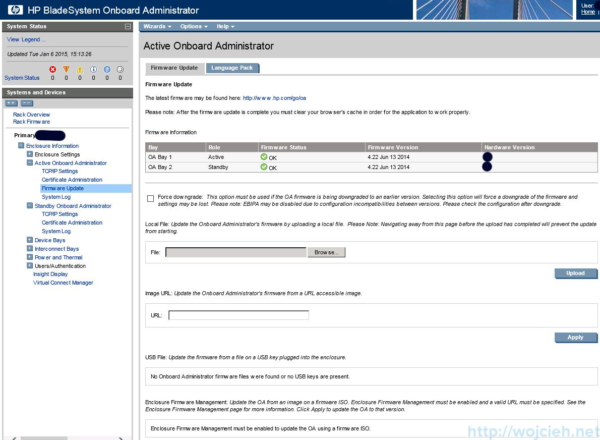 P c7000 Onboard Administrator firmware update 3
