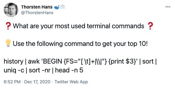 Find your top terminal commands