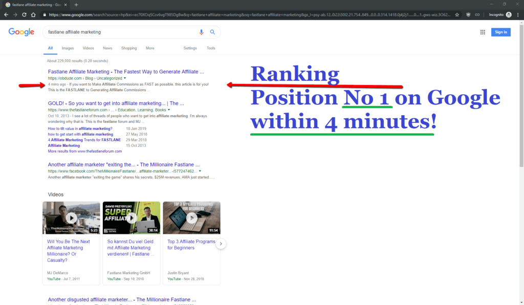 Proof - Screenshot - Ranked Position 1 On Google In 4 Minutes