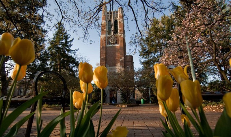 Clock town with tulips on the Michigan State University campus