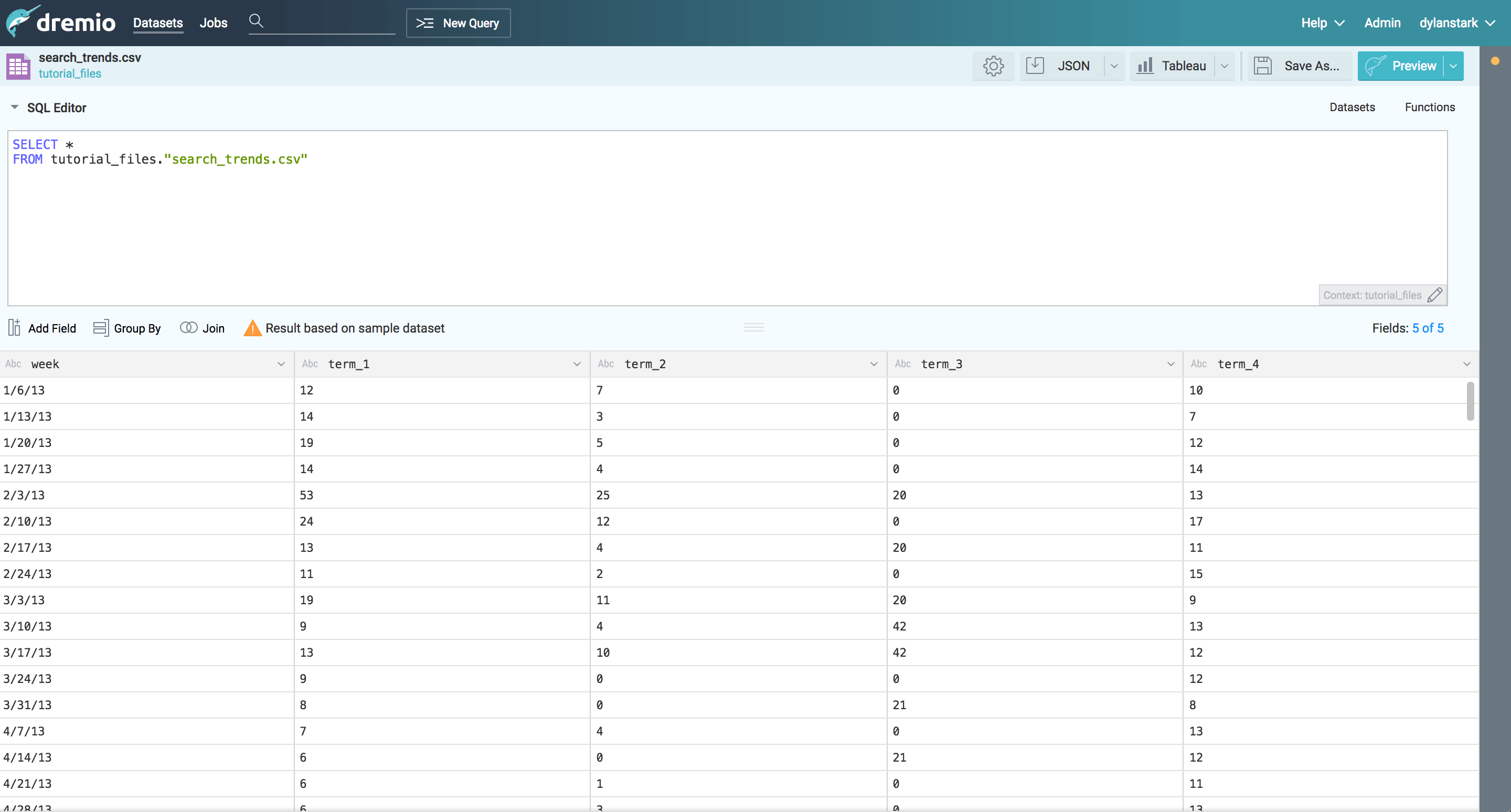 Dremio and D3 tutorial - search trends data