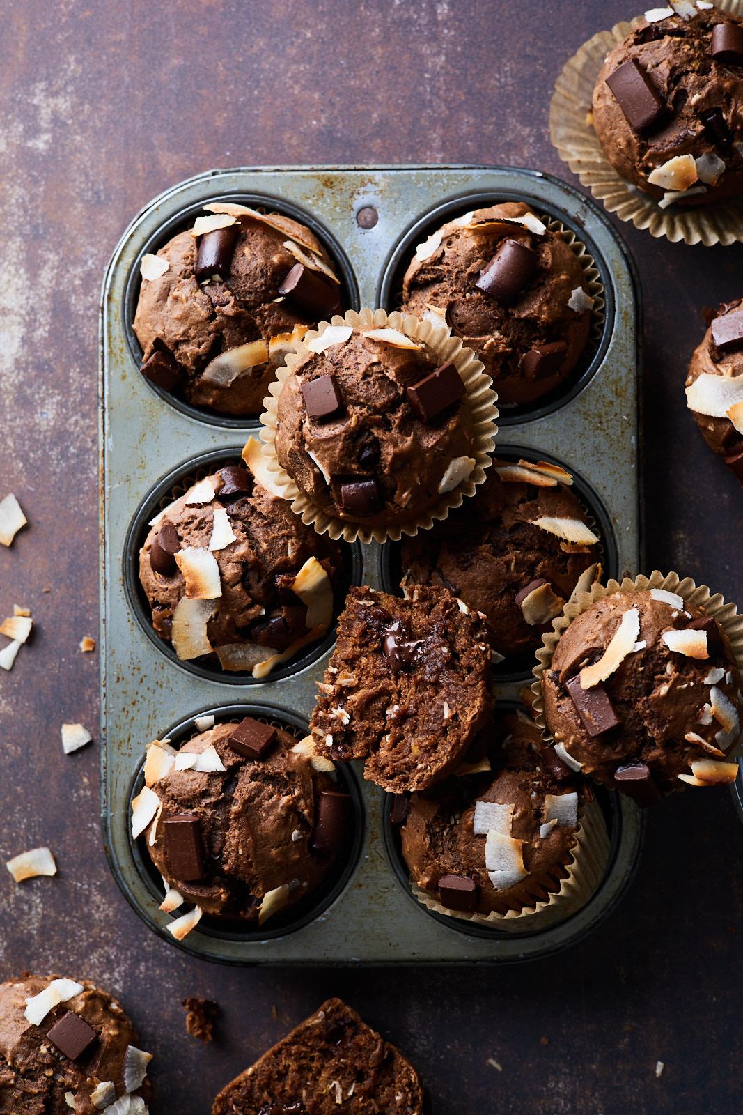 Dark Chocolate Coconut Banana Muffins