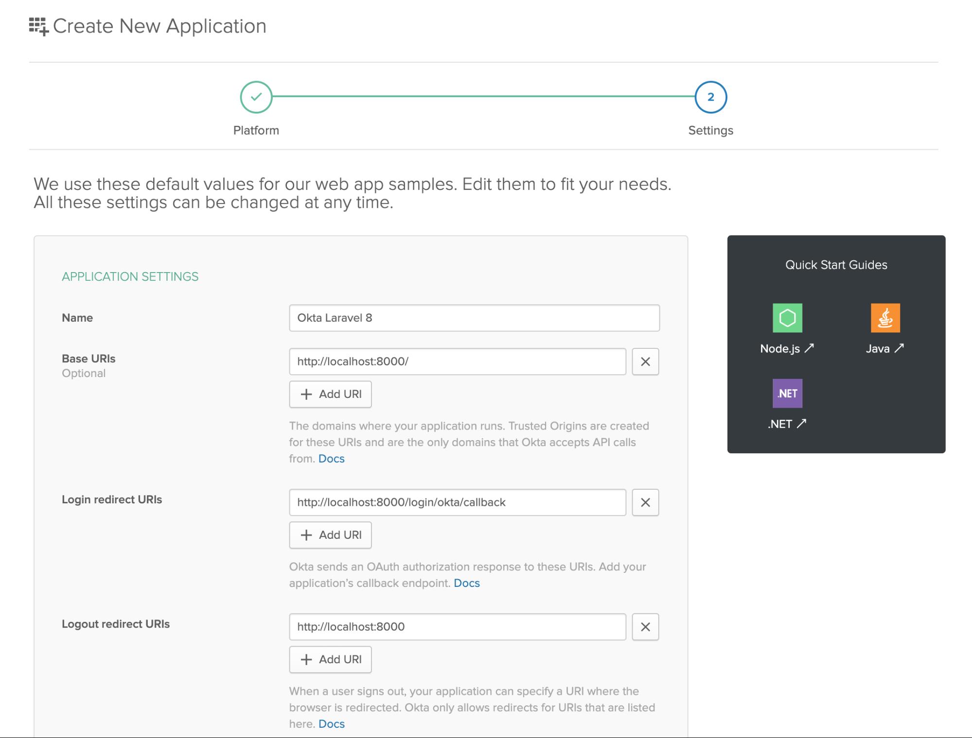 Enter application settings