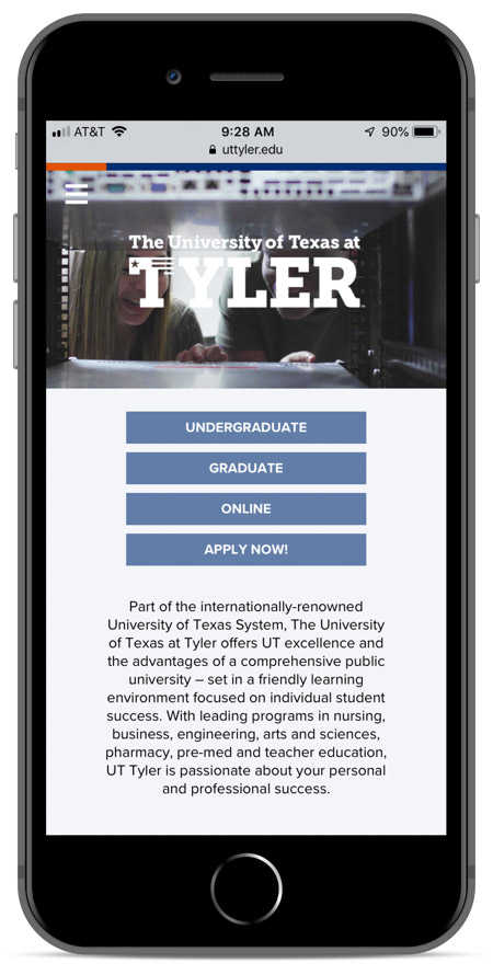 UTT's homepage as viewed on an iPhone 8