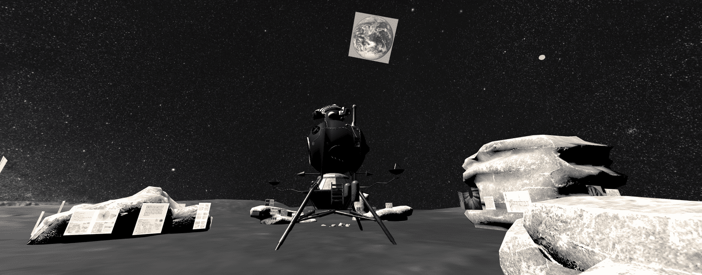Image by Gonzalo Moiguer showing scene on moon with space rocks and landed space rover with Earth in background