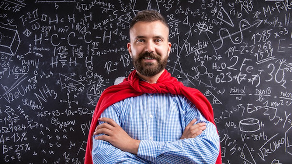 A man with a red superhero cape