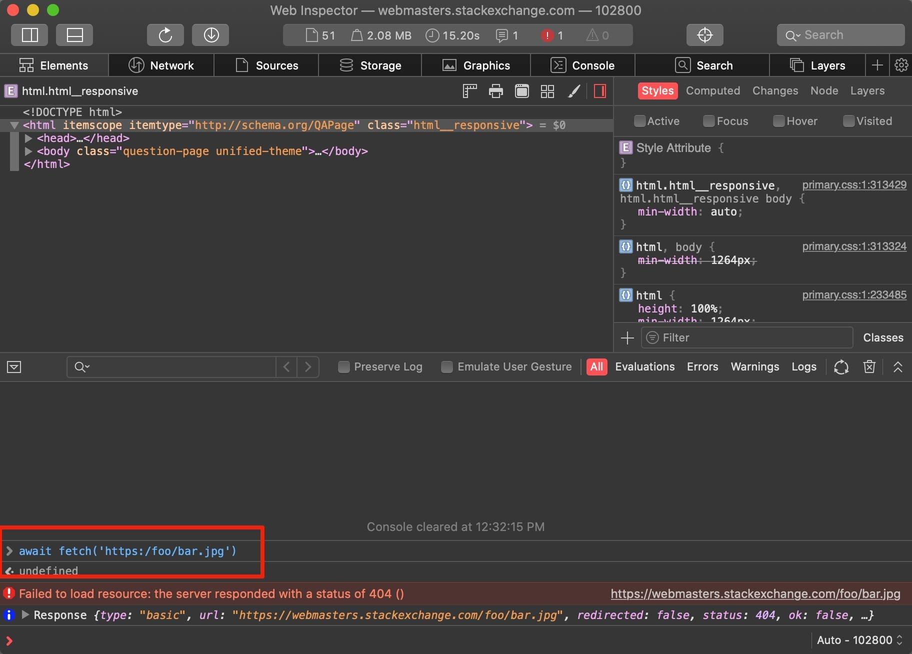 A screenshot of the developer tools panel making a single-slash http request