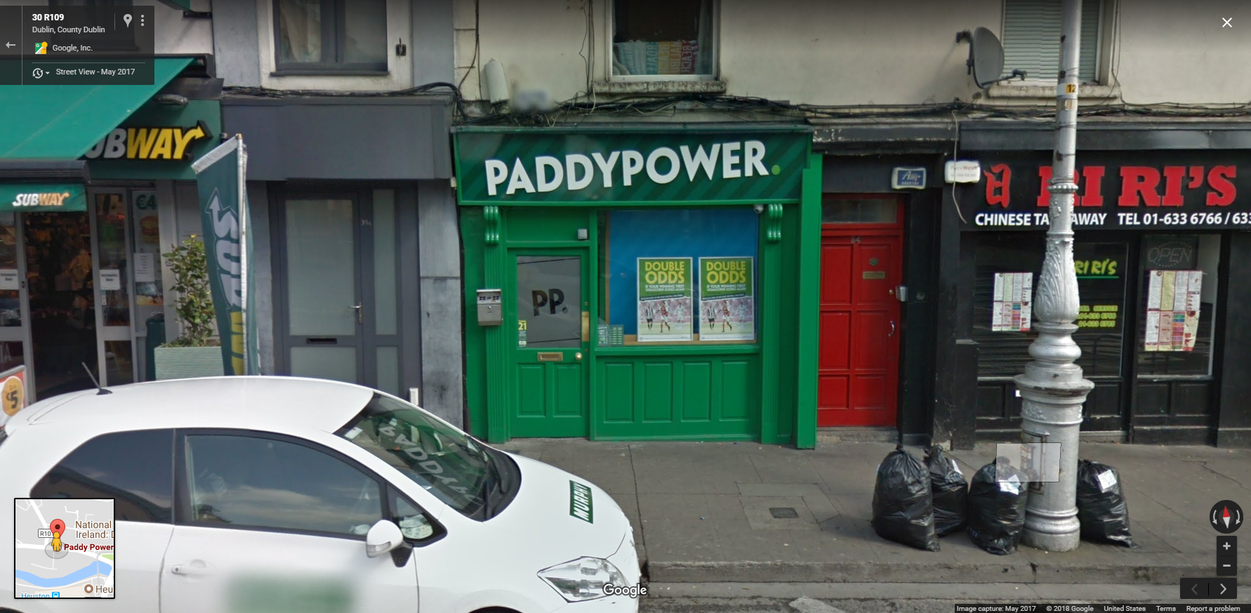 A modest PaddyPower shop in Dublin sits between a Subway and Chinese take-out. Don't expect to see betting shops like this in the US, even if sports betting becomes legal, thanks to restrictions and cronyism from state lawmakers.