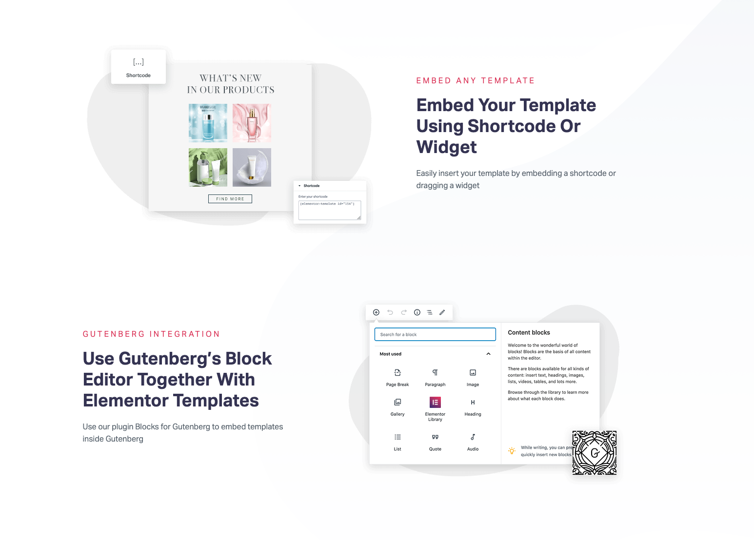 Elementor product page for the Gutenberg Block Editor