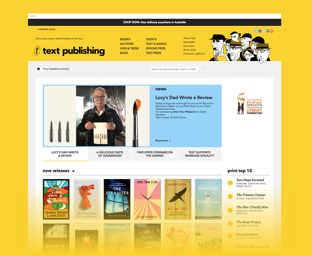 homepage of the Text publishing website