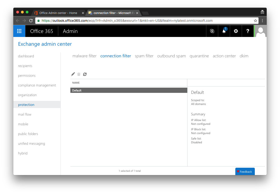 Office 365 Connection Settings