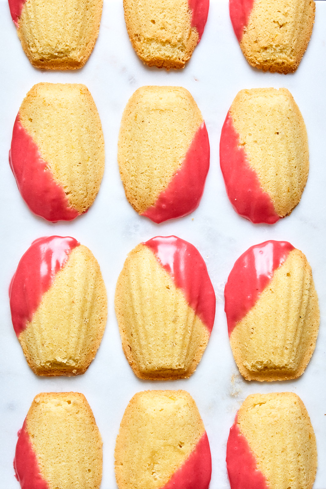 Easy Lemon Almond Madeleines With a Raspberry Glaze