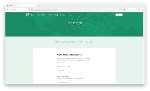 """""""OpenCage Geosearch early access list screenshot"""""""