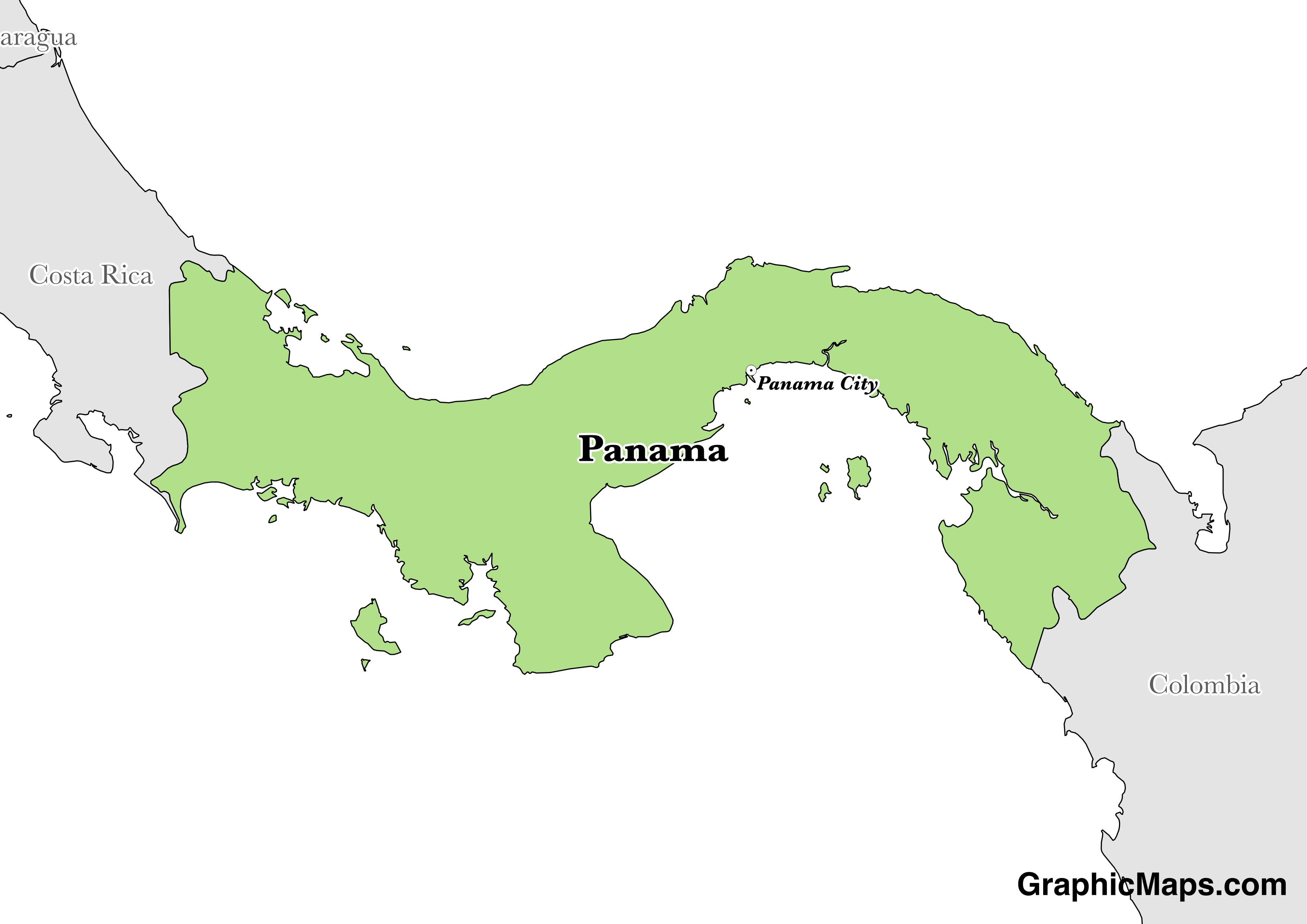 Map showing the location of Panama