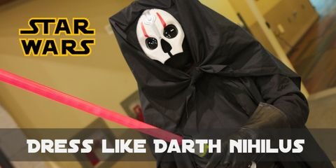 Like all mysterious characters, Darth Nihilus is completely in black, wearing a hooded cape, black tunic with wide belt, as well as loose pants, boots, and gloves. Of course, there is a red lightsaber as well.